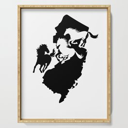 New Jersey State Horse Lover Black Serving Tray