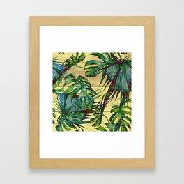 Tropical Palm Leaves on Wood Framed Art Print