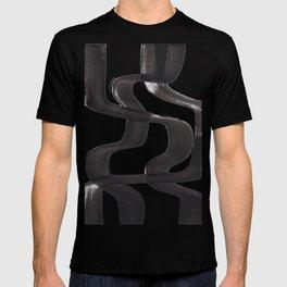 Black And White Minimalist Mid Century Abstract Ink Art Ripple Maze Lines Retro Style T-shirt