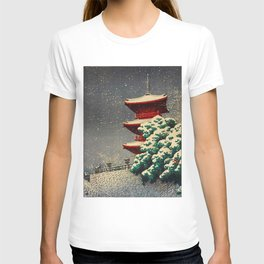 Japanese Woodblock Print Winter Snow Red Pagoda Green Tree Beautiful Composition T-shirt