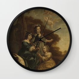 Jacob Willemsz Delff II - Portrait of Geertruyt, Margriet and Anna Delff, the Artist's Daughters (Po Wall Clock