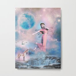 Fantasy Digital Art -  Elf and Unicorn in a Scenic Landscape Metal Print