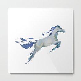 Watercolors Feather Pegasus Metal Print