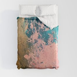Coral Reef [1]: colorful abstract in blue, teal, gold, and pink Duvet Cover
