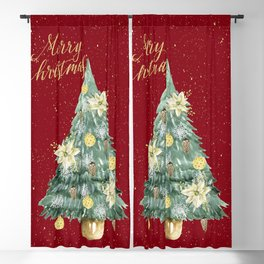 Christmas Tree Merry Christmas Red Blackout Curtain
