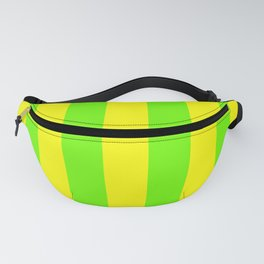 Bright Neon Green and Yellow Vertical Cabana Tent Stripes Fanny Pack