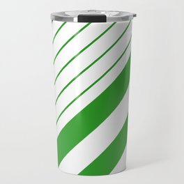 Green And White Stripes Pattern Travel Mug