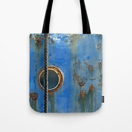 Blue Rusty, Grungy Ship Detail Tote Bag