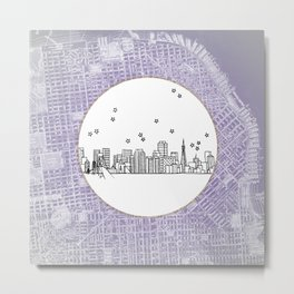 San Francisco, California City Skyline Illustration Drawing Metal Print