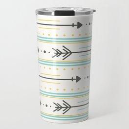 Boho gray yellow mint green polka dots arrows stripes Travel Mug