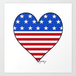 USA Heart Art Print