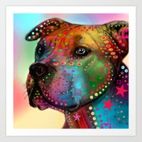 pit bull Art Prints featuring pit bull by mark ashkenazi