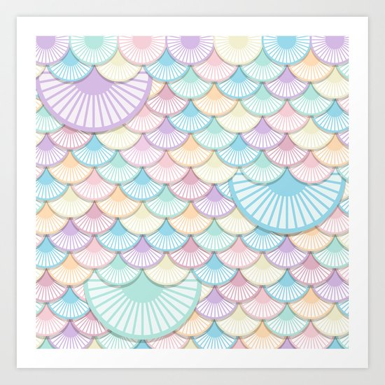 Pastel Wagon Wheels Art Print