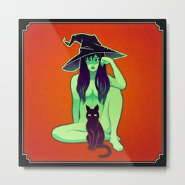 Spooky Pin-Up, Witch Metal Print