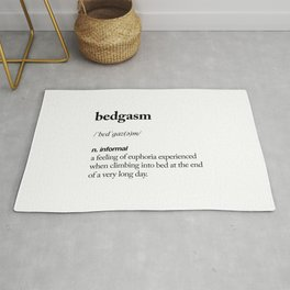 Bedgasm black and white contemporary minimalism typography design home wall decor bedroom Rug