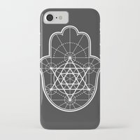 sacred geometry iPhone & iPod Cases featuring Sacred Geometry Hamsa by Megan Carty