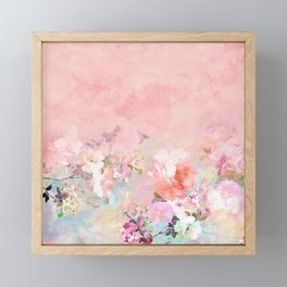 Modern blush watercolor ombre floral watercolor pattern Framed Mini Art Print