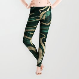 Emerald Green Black Gold Marble #1 #decor #art #society6 Leggings