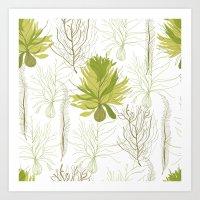 green pattern Art Prints featuring Green pattern  by LOLIA-LOVA