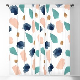 turquoise, navy, pink & gold Blackout Curtain