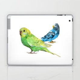 Geometric green and blue parakeets Laptop & iPad Skin