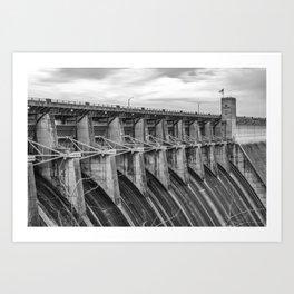 Table Rock Lake Dam at Dawn - Branson Missouri Monochrome Art Print