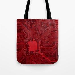 Red Geek Motherboard Circuit Pattern Tote Bag
