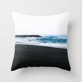 Melancholic Beach Stroll in Iceland Throw Pillow