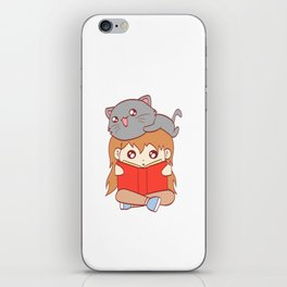 Cat Kid Reading Book Nerd Study School Current Mood Cat Read Learn Book Library Feline Claw Claws iPhone Skin