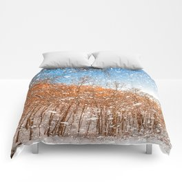 Snow Spattered Winter Forest Comforters
