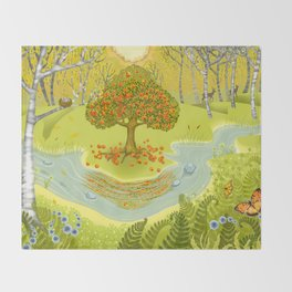 Magic Green Forest Throw Blanket