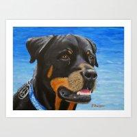rottweiler Art Prints featuring Rottweiler by paintintheneck