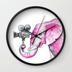 Filming Pink Elephant Wall Clock