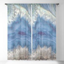 Blue green Australia shaped agate Sheer Curtain