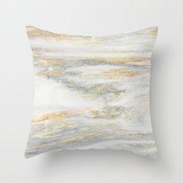 White Gold Marble Texture Throw Pillow