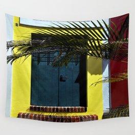 puerto rican blue door Wall Tapestry