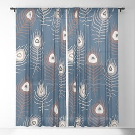 Peacock feathers pattern white blue and red Sheer Curtain