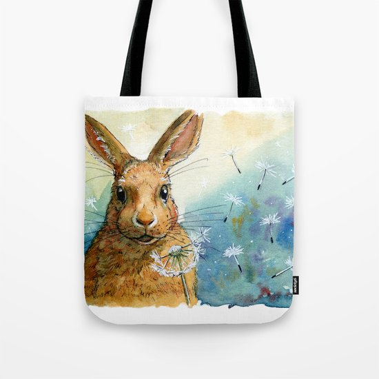 Funny rabbits - With Dandelions 548 Tote Bag