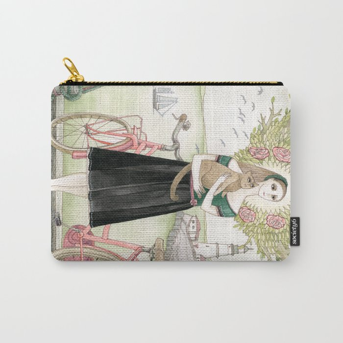 Girl and cat with pink bicycle Carry-All Pouch