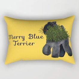Merry Blue Terrier (Yellow Background) Rectangular Pillow