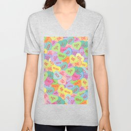 Candy Hearts Pattern - NSFW Unisex V-Neck