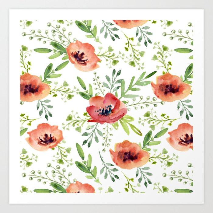 Red bouquet. Watercolor pattern Art Print