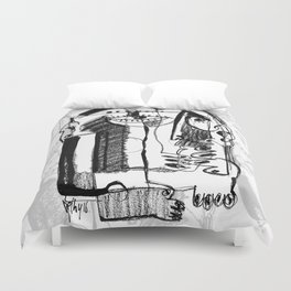 Waiting for Salvation - b&w Duvet Cover