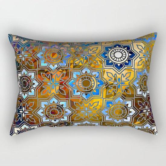 Blue and Gold Pattern Rectangular Pillow
