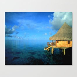 Over-the-Water Island Bungalow Canvas Print