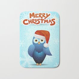 Merry Christmas with owl and Santa hat Bath Mat