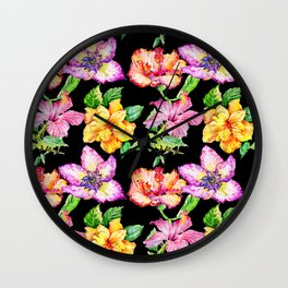 Hand painted tropical lilac pink yellow watercolor floral Wall Clock