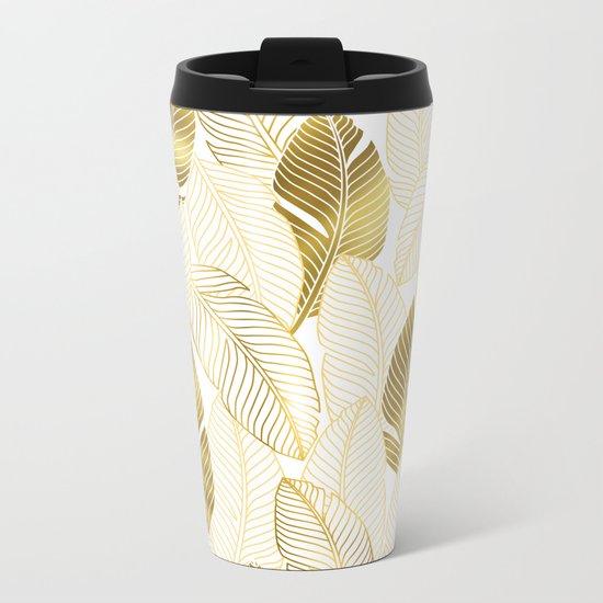Gold tropical leaves pattern Metal Travel Mug
