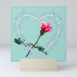 Heart with pink rose Mini Art Print
