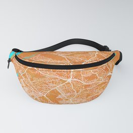 Plymouth, England, Gold, Blue, City, Map Fanny Pack